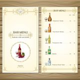 Bar Menu Template. With different alcoholic beverages drinks and cocktails on wooden background vector illustration Royalty Free Stock Photography
