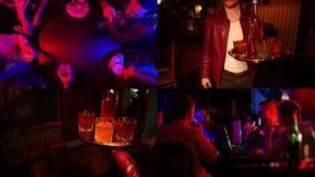 4 in 1: Bar met T.L.-verlichting Bedrijf van vrienden die bier drinken stock video