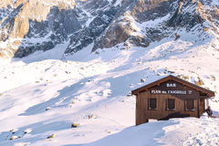 Bar at middle station of Cable Car Telepherique Aiguille du Midi and mountains panorama Chamonix, France. Stock Photos