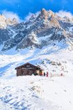 Bar at middle station of Cable Car Telepherique Aiguille du Midi and mountains panorama Chamonix, France. Royalty Free Stock Images