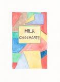 A bar of Milk Chocolate. Hand painted Original illustration of a milk chocolate bar Stock Photos
