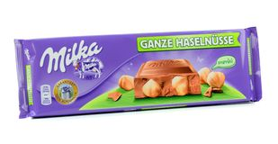A bar of Milka Mondelez hazelnut milk chocolate Royalty Free Stock Images