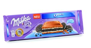 A bar of Milka Mondelez Oreo biscuit milk chocolate Stock Photo