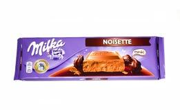 Bar Milka noisette czekolada odizolowywająca na białym tle zdjęcia stock