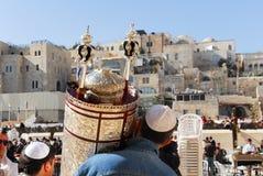 Bar mitsva na parede ocidental, Jerusalém Foto de Stock