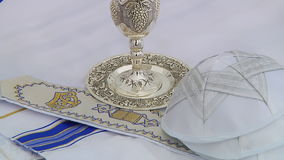 Bar Mitzhvah jewish religious symbol Prayer Shawl - Tallit, Jewish religious symbol. Yarmulke Bar Mitzhvah jewish religious symbol Prayer Shawl - Tallit, Jewish stock footage