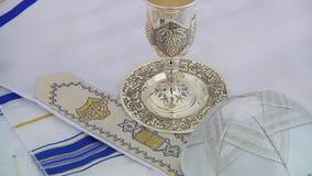 Bar Mitzhvah jewish religious symbol Prayer Shawl - Tallit, Jewish symbol. Bar Mitzhvah jewish religious symbol Prayer Shawl - Tallit, Jewish religious symbol stock footage