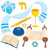 Bar Mitzvah or Bat Mitzvah Clip art. Jewish elements found at any Bar Mitzvah or Bat Mitzvah, isolated on white Royalty Free Stock Images