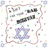 Bar Mitzvah card hand drawn. A gift for your Bar Mitzvah card hand drawn Stock Image