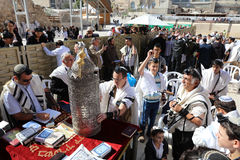 Bar Mitzvah Ceremony at the Western Wall in Jerusalem. Old City. Bar Mitzvah is the Jewish rite of passage from boyhood to manhood Stock Photo
