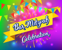 Bar Mitzvah invitation card. Bar Mitzvah party invitation, congratulation card. Holiday of coming of age Jewish rituals Stock Photography