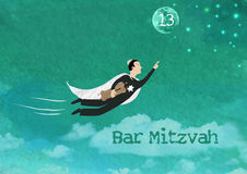 Bar Mitzvah Invitation Card. Watercolor and rasterized  Illustration of a Jewish boy flying towards the stars and the moon holding torah scrolls for a Jewish Bar Royalty Free Stock Photography