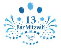 Bar Mitzvah invitation or congratulation card. Vector illustration. Bar Mitzvah invitation or congratulation card. Jewish holiday. Vector illustration stock illustration