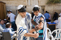Bar Mitzvah ritual at the Wailing Wall Royalty Free Stock Photo