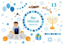 Bar mitzvah set of flat style icons. Collection of elements for congratulation or invitation card, banner, with Jewish boy, stock illustration