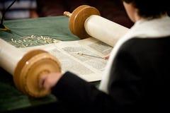 Bar Mitzvah torah reading. Yad pointing at torah scrolls royalty free stock photos