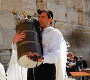 Bar mitzwah på den västra väggen, Jerusalem arkivbilder