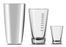 Bar Mixing Set. Boston Cocktail Shaker & Mixing Glass Royalty Free Stock Photos