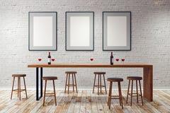 Bar moderne avec les cadres vides Photos libres de droits