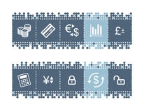 Bar with money icons. Vector web icons. blue dots bar series Royalty Free Stock Photography