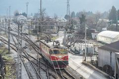 Top perspective view on a railway branching. Bar, Montenegro, January, 24, 2019: Top perspective view on a railway branching. Sort Facility. Railroad tracks and royalty free stock images