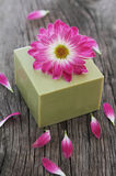 Bar of natural green soap with flower Royalty Free Stock Photos
