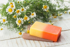 Bar of natural handmade soap Royalty Free Stock Images