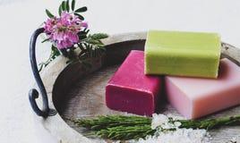 Bar of natural handmade soap stock images
