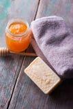 Bar of natural handmade soap Royalty Free Stock Photos
