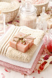 Bar of natural handmade soap lying on a towel Royalty Free Stock Photography