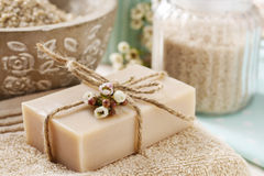 Bar of natural handmade soap Royalty Free Stock Photography