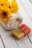 Bar of natural handmade soap on table. Spa concept. Stock Image