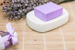 Bar of natural lavandah soap on white soap dish Royalty Free Stock Photography