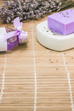 Bar of natural lavandah soap on white soap dish Royalty Free Stock Image