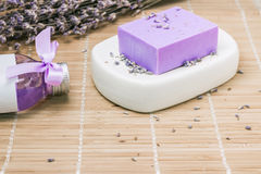 Bar of natural lavandah soap on white soap dish Royalty Free Stock Images