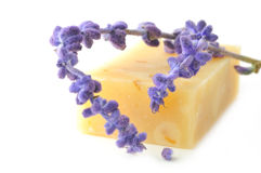 Bar of natural soap. With lavender Royalty Free Stock Images