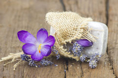 Bar of natural soap, dried lavender and crocus Stock Photography