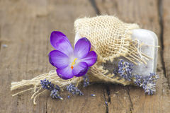 Bar of natural soap, dried lavender and crocus Royalty Free Stock Photos