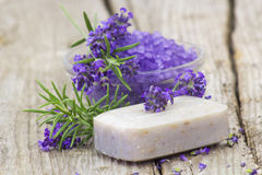 Bar of natural soap, herbs and bath salt Stock Images
