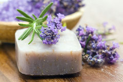 Soap and lavender flowers Royalty Free Stock Photos