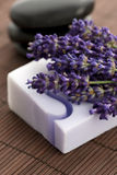 Bar of natural soap and lavender Royalty Free Stock Photography