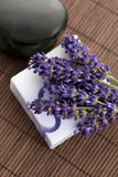 Bar of natural soap and lavender Royalty Free Stock Photo