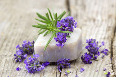 Bar of natural soap and lavender flowers Stock Images