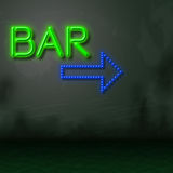 Bar Neon Represents Nightlife Glowing And Tavern Stock Photos