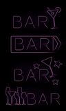 Bar neon signs set Stock Photography