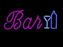 bar neontecknet royaltyfri fotografi