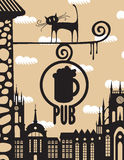 Bar och en katt Royaltyfri Foto