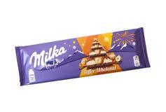 Bar odizolowywający na bielu Milka czekolada fotografia stock