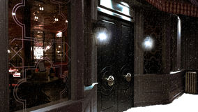 Bar op een sneeuwnacht Stock Foto