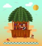 Bar op tropisch strand Stock Afbeeldingen